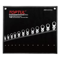 Набор ключей комбинированных с трещоткой и шарниром 8-19мм в сумке 12ед. TOPTUL GPAQ1204